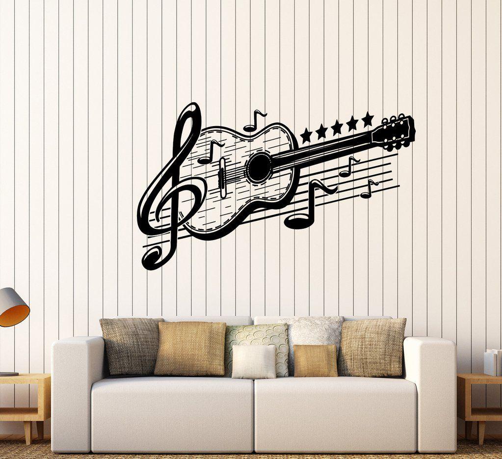 Vinyl Wall Decal Guitar Musical Art Music Decor Stickers Mural (443ig)