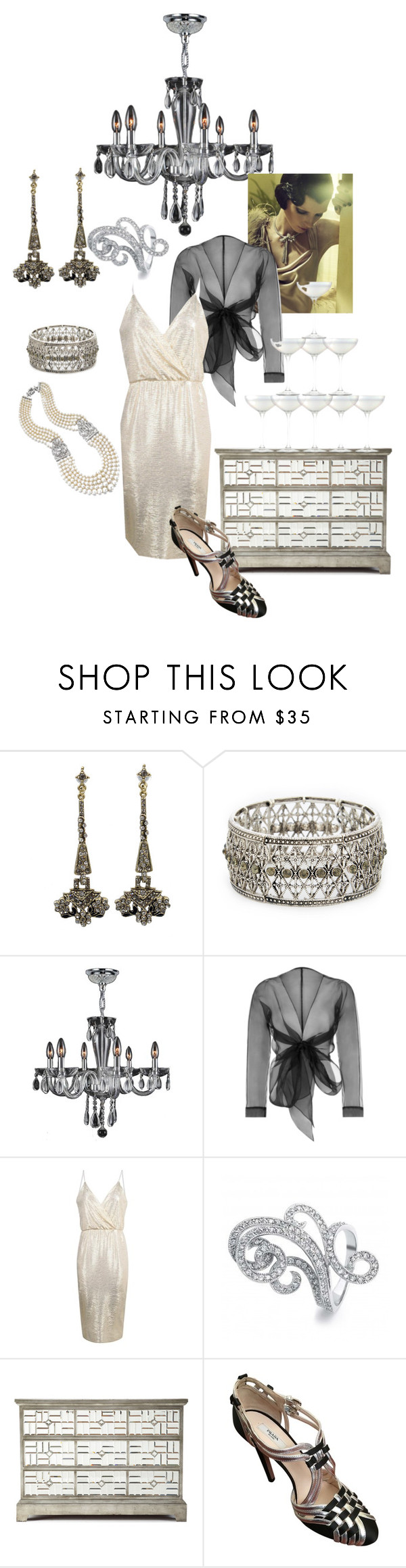 """Gatsby"" by tinydancer2018 ❤ liked on Polyvore featuring Sweet Romance, Sole Society, Gatsby, Bianca Elgar, Boohoo, Bling Jewelry, John-Richard, Prada and LSA International"