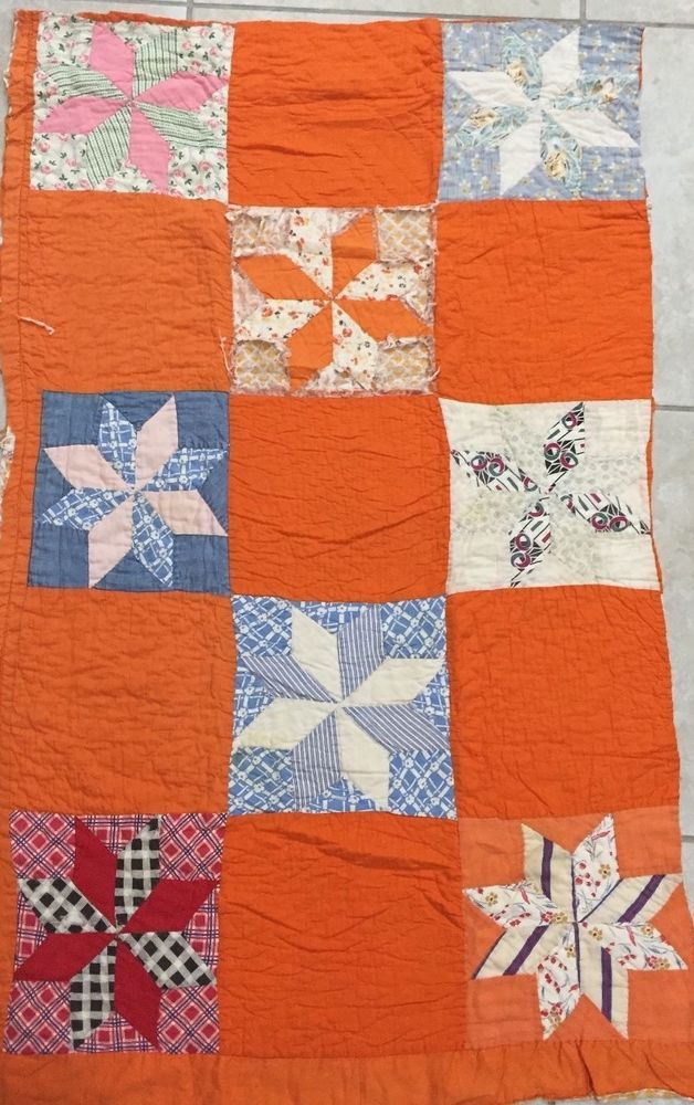 half quiltytherapy baby triangle gray scrap orange blue square quilt quilts and white