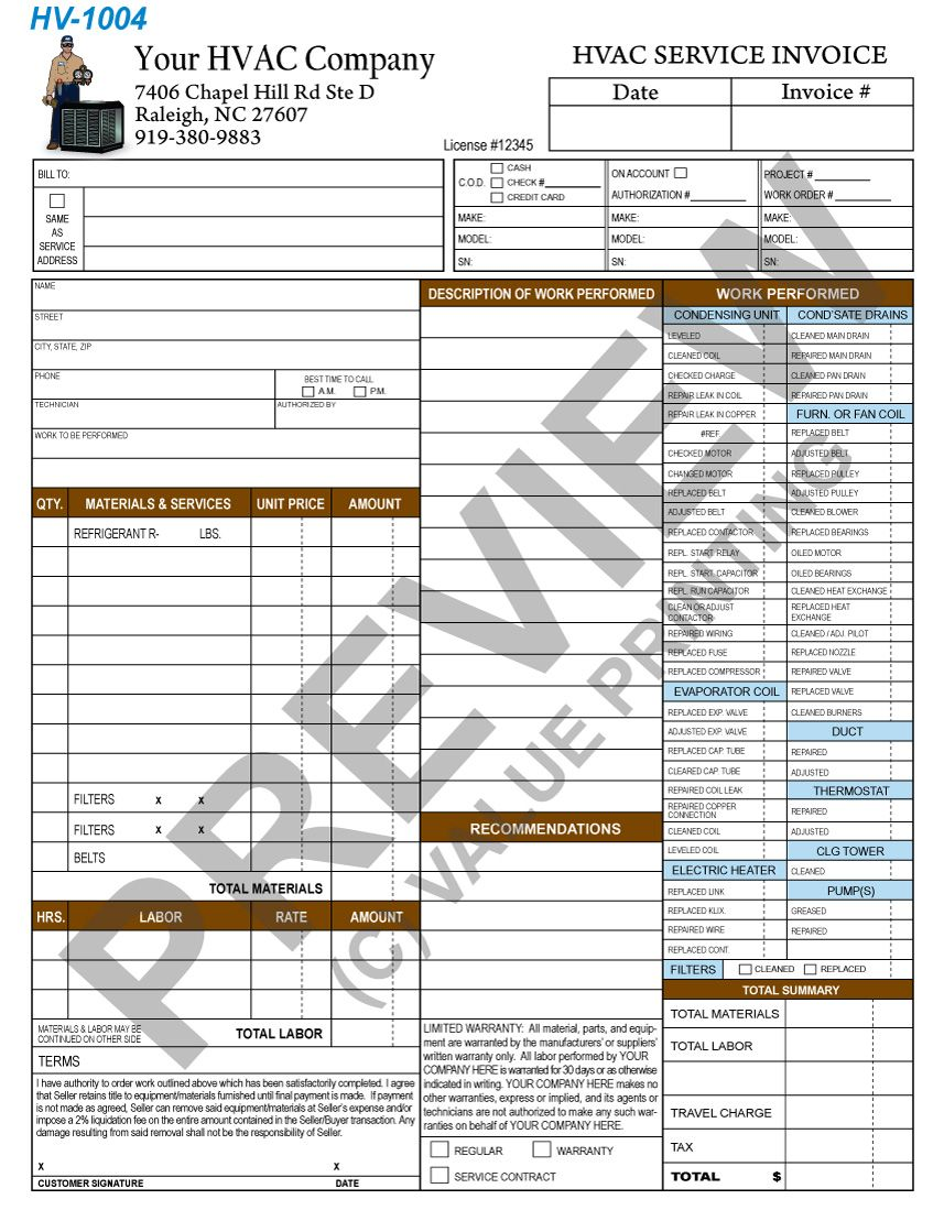 Hvac Time And Materials Invoice From Value Printing  Free Proof