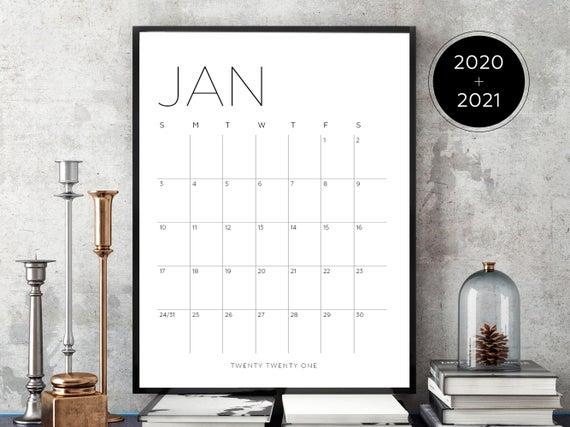 2020 2021 Printable Calendar Jan Dec 2020 Jan Dec 2020 24 Months Sunday Monday Start Calendar 2020calendar 2021calendar Wallcalendar Bigwallcalen