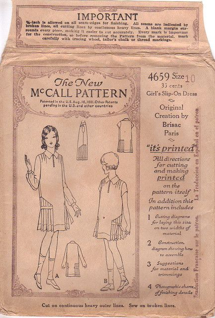 McCall 4659 after Brisac | 1920s Girls\' Slip-On Dress | 1920s McCall ...