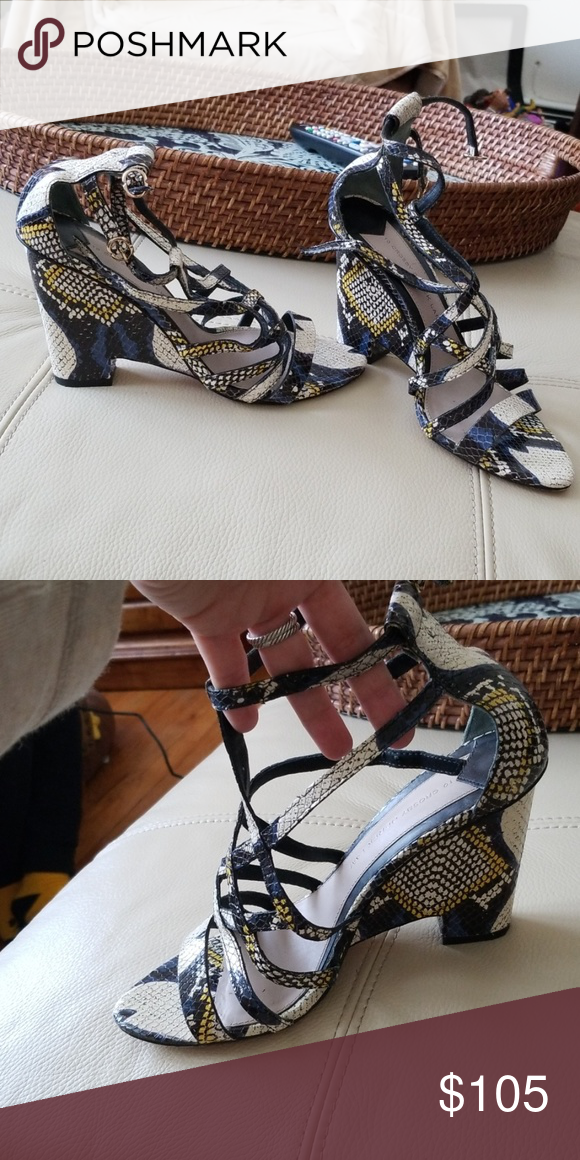 10 Crosby Derek Lam Sandals Sz 7 5 Snake Print In Excellent Condition Ankle Strap Sandals Leather 10 Derek Lam Shoes Ankle Strap Sandals Derek Lam 10 Crosby