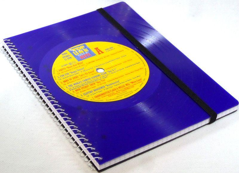 DIN A5 - Notizbuch Schallplatte blue Vinyl upcycling  - ein Designerstück von Aurum bei DaWanda
