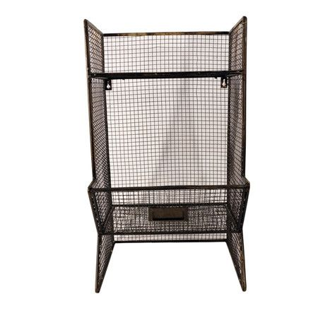 """Freestanding metal shelf with an open wirework design and bottom storage bin.  Product: ShelfConstruction Material: MetalColor: BlackFeatures: One bottom storage binDimensions: 20.5"""" H x 10.6"""" W x 12"""" D"""