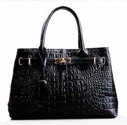 Pinshang Ladies Crocodile Embossed Leather Padlock Decoration Star:s Street Handag Birkin Tote Bag