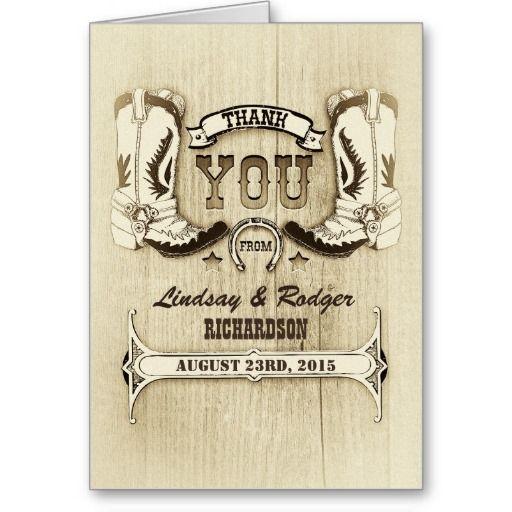 Western Wedding Cowboy Boots Thank You Cards