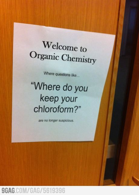 On A Door In The Health Sciences Building At School Chemistry