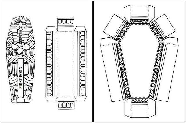 Easy To Build Egyptian Sarcophagus Paper Model For School Works By