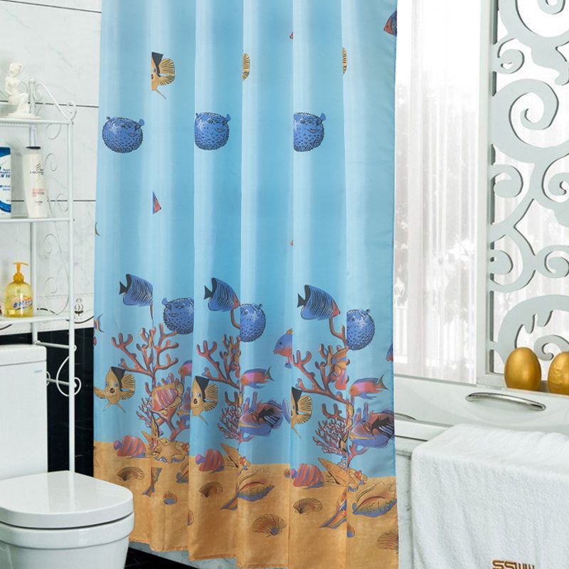Blue Modern Fish Shower Curtain Waterproof Fabric Curtain For The