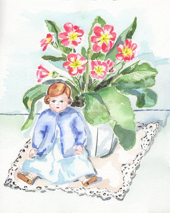 Primrose watercolor, Primula print, Primrose art, Doll watercolor, Doll print, Floral still life, Spring flowers, Gallery wall art, Wall art