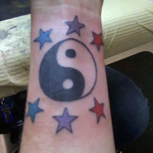My left wrist... ying/yang with stars (#7)