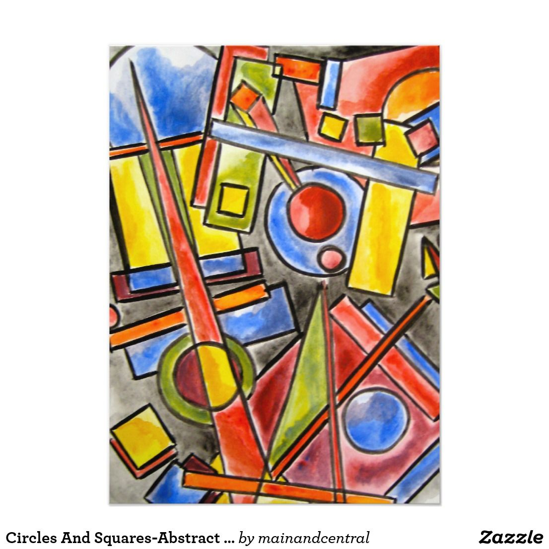 Circles And Squares Abstract Art Geometric Zazzle Com In