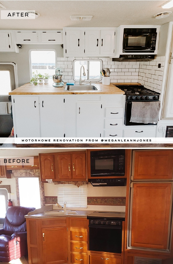 This outdated motorhome was transformed into a bright and beautiful home on wheels! Featuring @meganleannjones on MountainModernLife.com #rvrenovation #rvremodel #smallspacebigstyle #motorhome #moderncamper #tinyhouseonwheels #rvtour #designvibes #motorhomemakeover #camper #digitalnomads #tinyhome