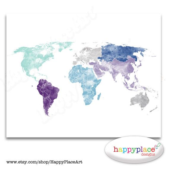 Marvelous Large World Map Wall Art Poster With Personalised Text Or Quote. Aqua And  Purple, Watercolor Map Print Or Printable. PUSH PIN World Map Gift