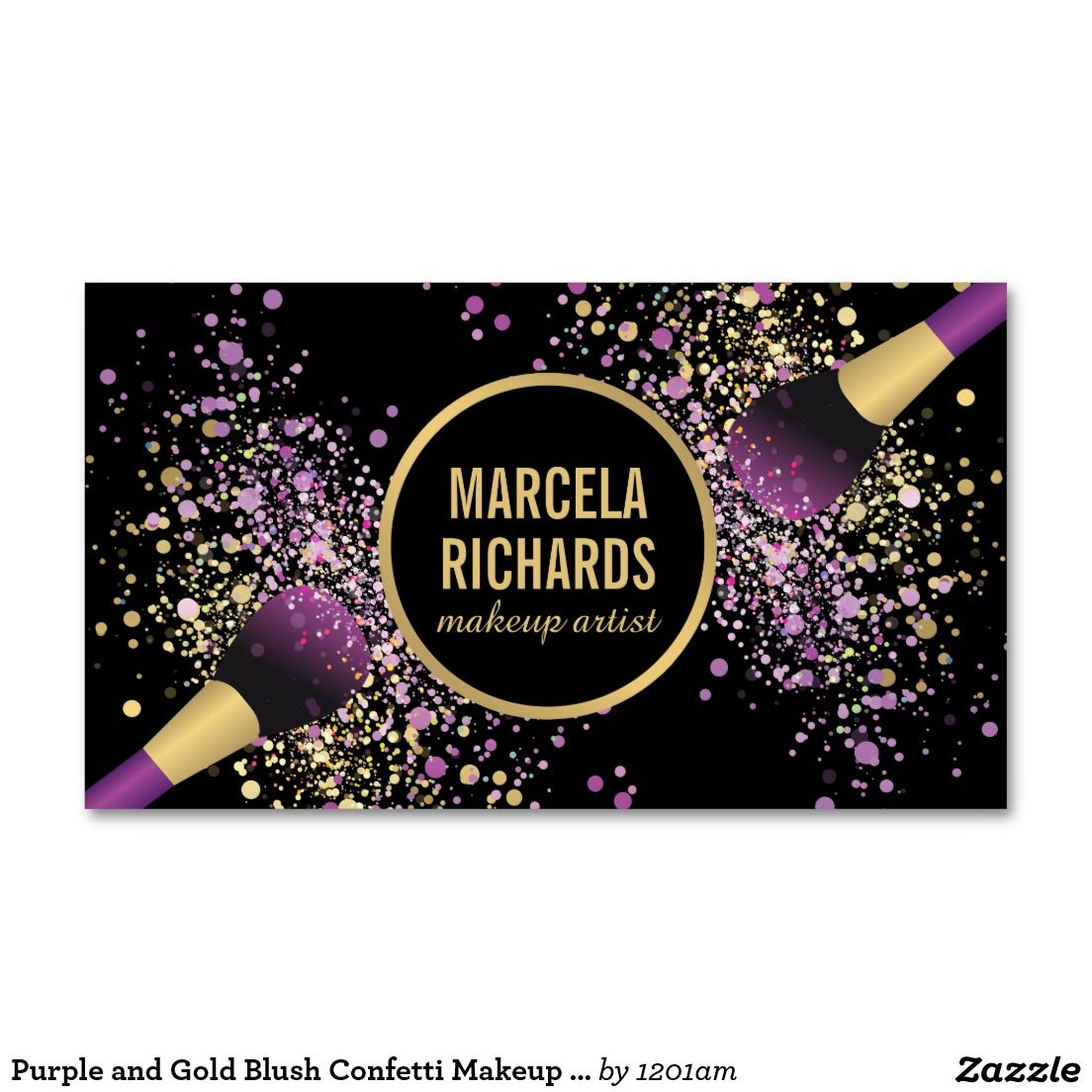 Purple and gold blush confetti makeup artist business card purple and gold blush brushes makeup artist business card personalize with your name or business magicingreecefo Images