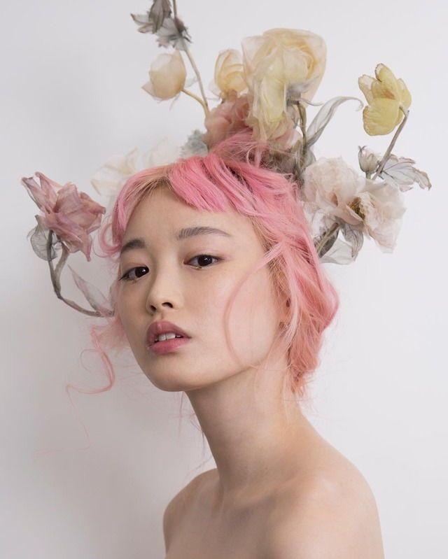 pink hair short bangs
