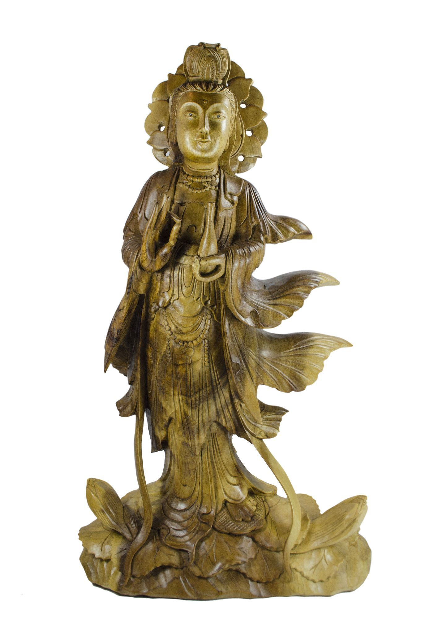 Quan Yin Standing on Dragon Hibiscus Inches Tall and Hand Carved