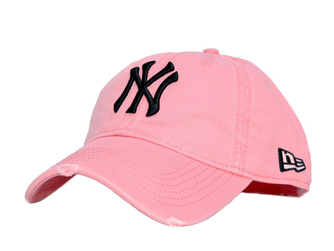 NY Yankees Distressed Baseball Cap B05 Pink  1fa9e828a1da