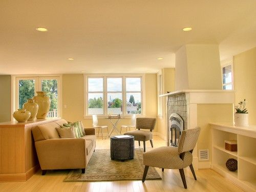 Golden Straw (walls), White Dove (ceiling), Linen White (trim) by ...