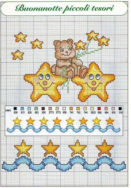 Luna e stelle schemi punto croce per bambini nascita 1 for Ricamo punto croce bambini