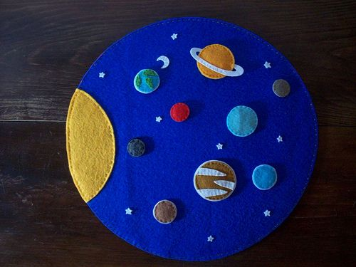 Science and felt! Whoo hoo! Solar system.