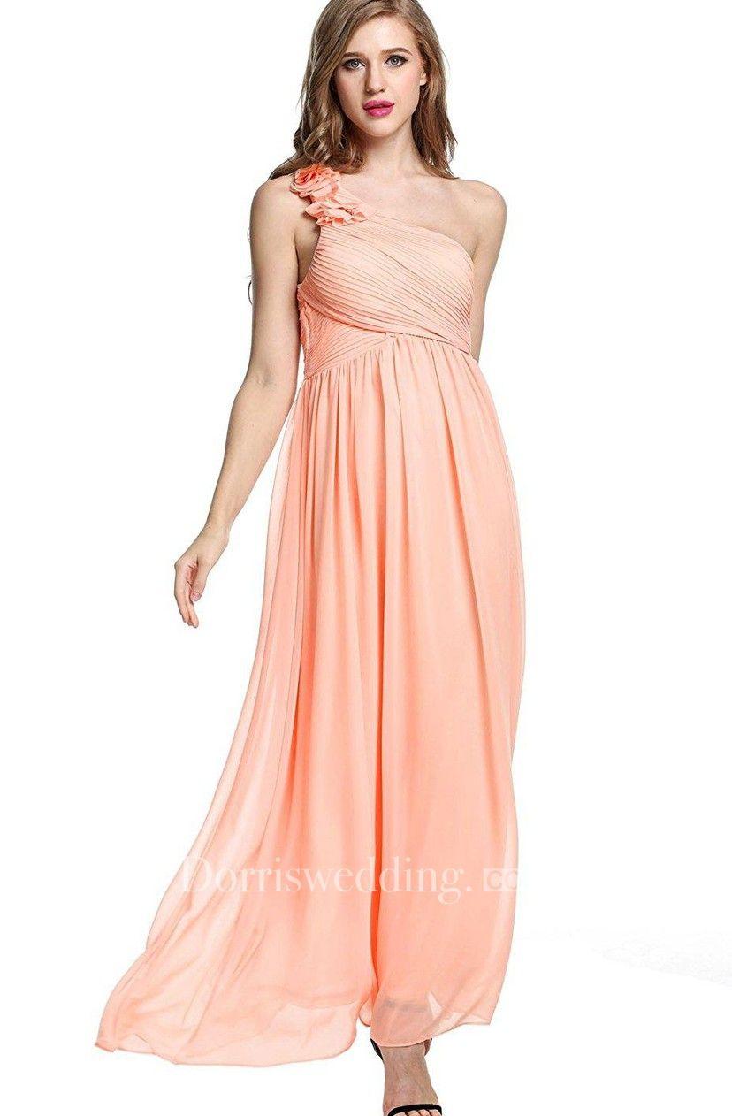 Empire Floral Single Strap Chiffon Long Dress in Bridesmaid