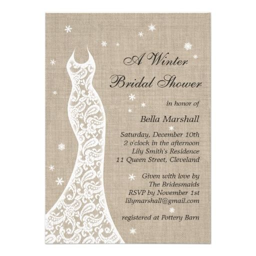 Winter Wedding Invitations Cheap: Beautiful Burlap Winter Bridal Shower Invitation