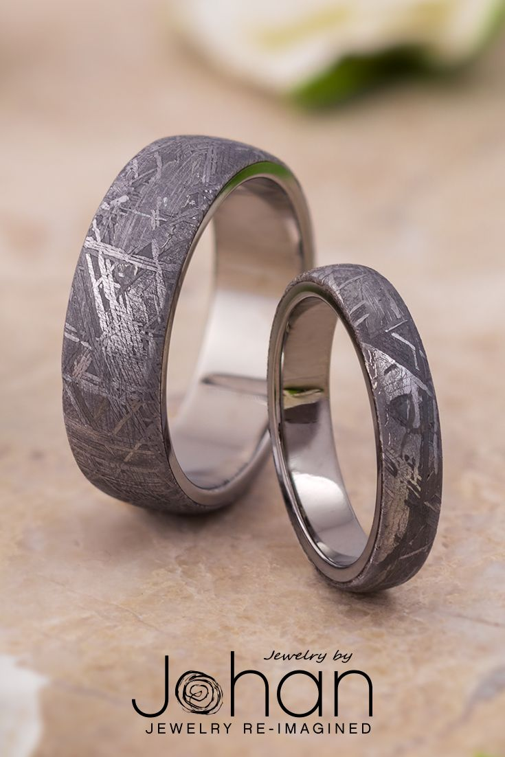 Authentic Gibeon Meteorite Puts A Cosmic Twist On The Traditional Wedding Band Style Mens Wedding Rings Rings For Men Platinum Wedding Band