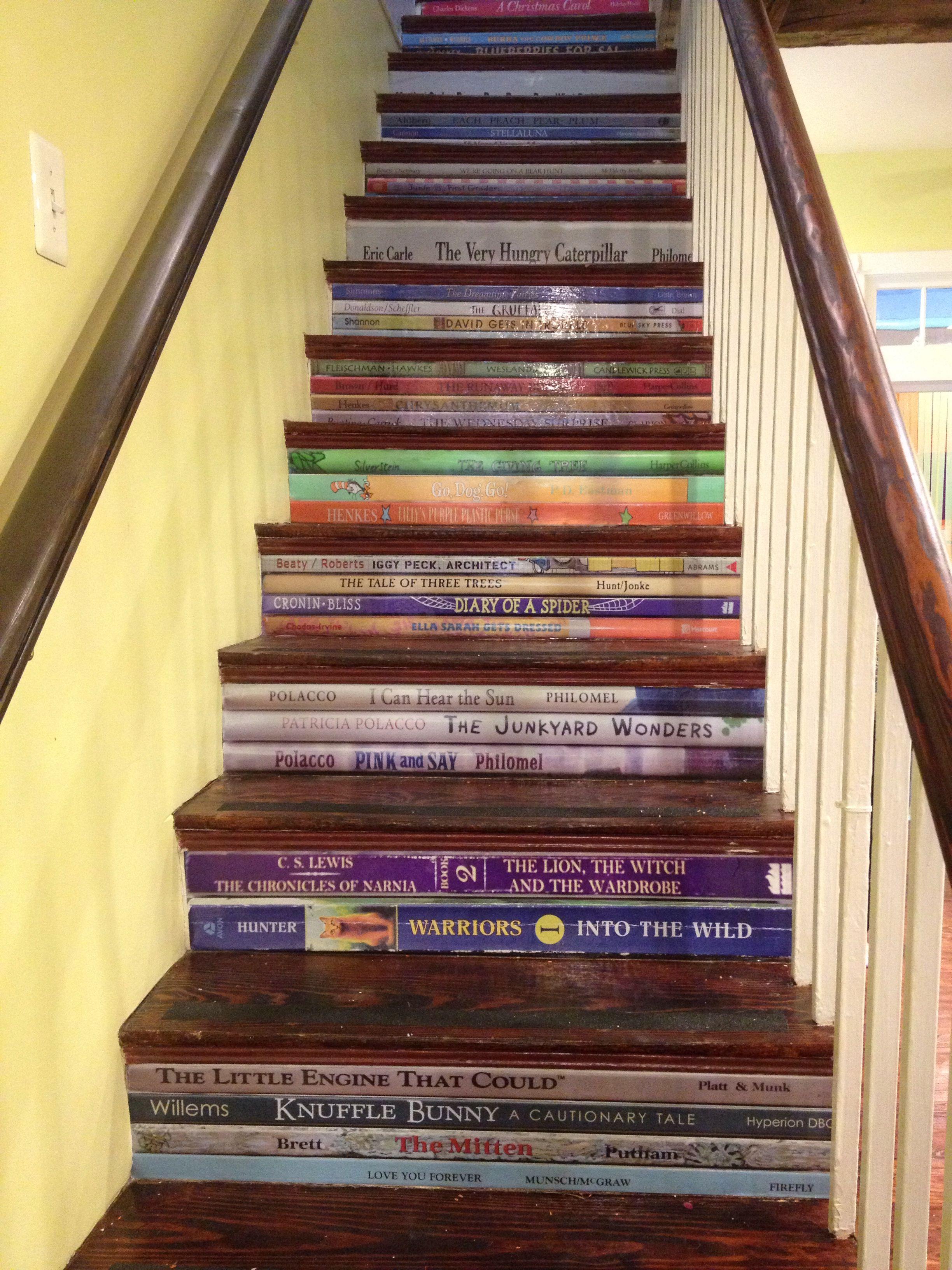 Diy steps book spine titles stairway art stairway to heaven hygge