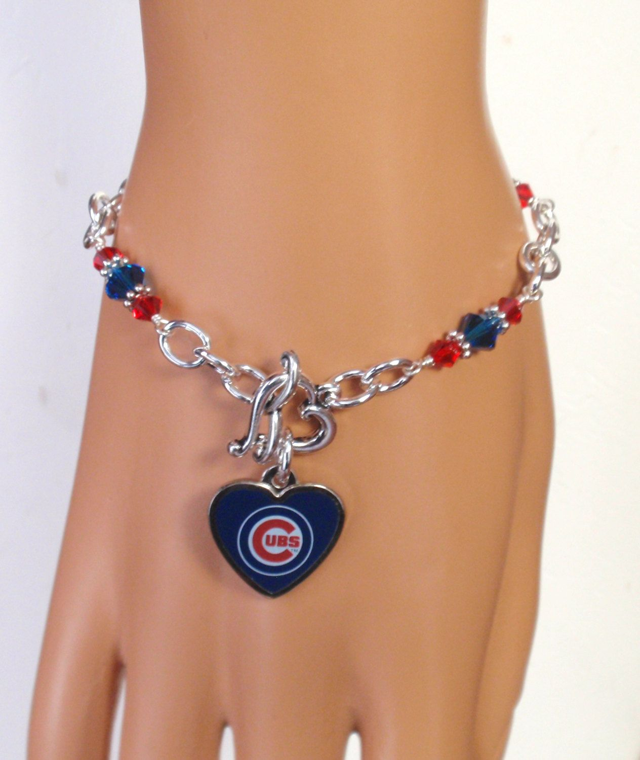 Chicago Cubs Bracelet Jewelry Blue And Red Crystal Heart Charm Pro