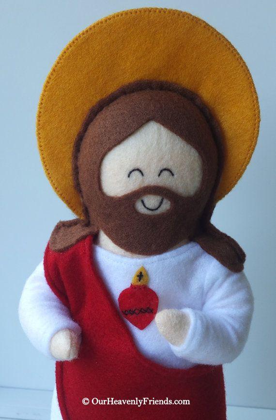 Sacred Heart of Jesus Felt Saint Doll Catholic Religious Doll