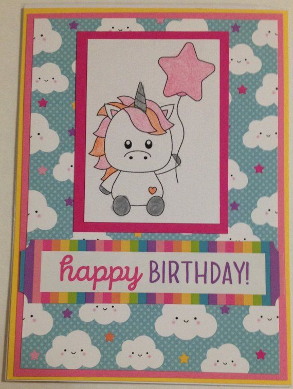 Little Girl Birthday Card Unicorn Birthday Card 1st Birthday