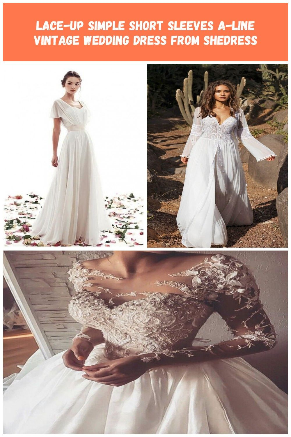 Lace Up Simple Short Sleeves A Line Vintage Wedding Dress Shedress Online Store Powere Wedding Dresses Vintage Wedding Dresses Lace Boho Wedding Dress Lace