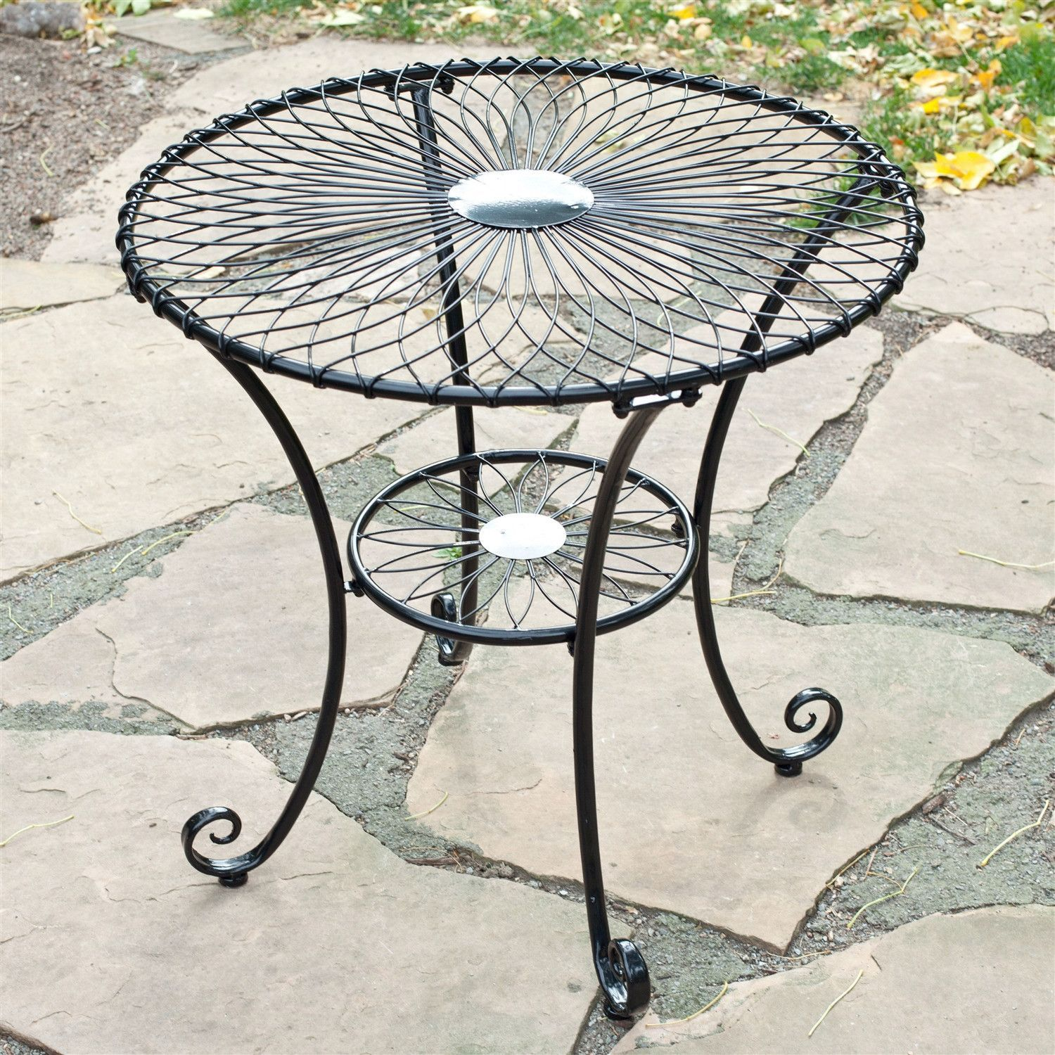 Gloss Black Steel 30 Inch Round Outdoor Patio Bistro Table   Seats 2 3
