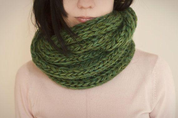 Knit infinity cowl chunky green wool blend by calinteya on Etsy, $138.00