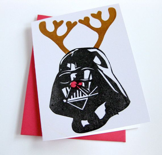 Star Wars Christmas Card Reindeer Darth Vader 5 00 Via Etsy Star Wars Christmas Cards Star Wars Christmas Funny Christmas Cards