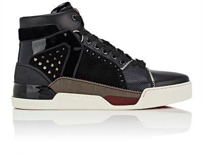 4d1e1f4484b CHRISTIAN LOUBOUTIN Loubikick Flat Mixed-Material Sneakers ...