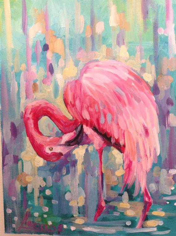 Pink Summer Flamingo Art Art Studio Flamingo Art Flamingo Painting Flamingo Wall Art