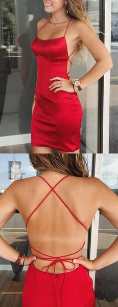 Red Satin Spaghetti Strap Lace Up Back Sheath Tight Homecoming Dresses,HD0064 Red Satin Spaghetti Strap Lace Up Back Sheath Tight Homecoming Dresses This homecoming\u00a0dress could be custom made, there are no extra cost to do custom size and color. Description of dress\u00a01, Material:elastic satin 2, Color: picture color or other colors, there are 126 colors are available, please contact us for more c #homecomingdressesshort