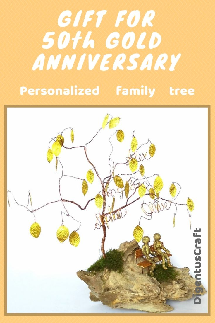 50th Golden Wedding Anniversary Personalized Family Wire Tree Gift