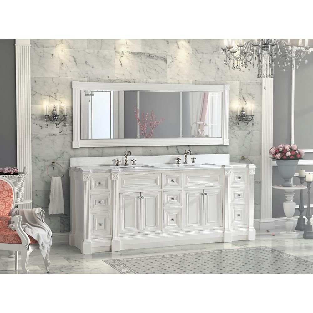 84 Inch White Finish Double Sink Bathroom Vanity Cabinet With