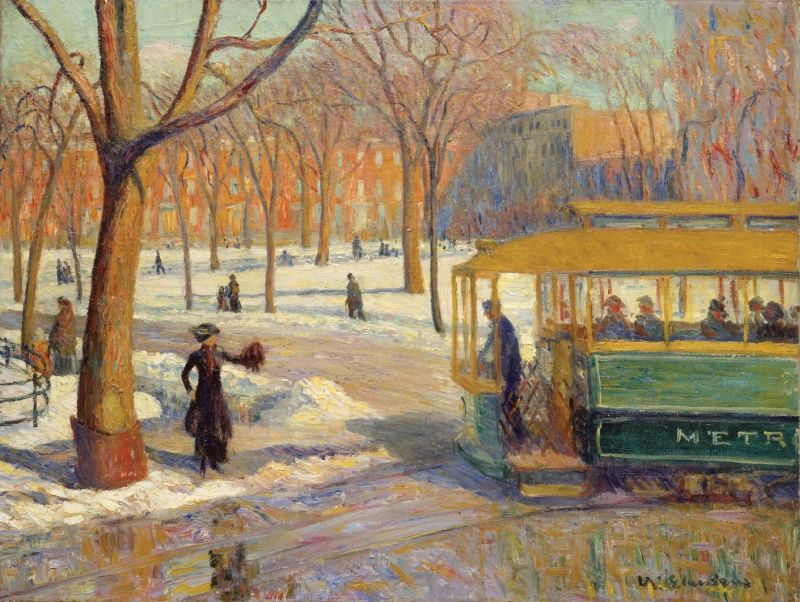Artist: William Glackens Movement: American Realism, Ashcan School Title: The Green Car (1910) Location: Metropolitan Museum of Art, New York, New York, USA
