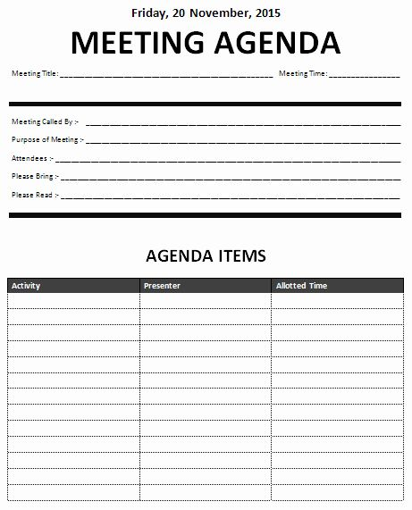 Ms Word Meeting Agenda Template In 2020