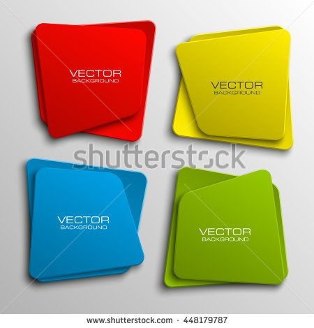 Design shape Origami vector banner. The original form as two squares with rounded corners, overlapping. The flat image. Vector graphics