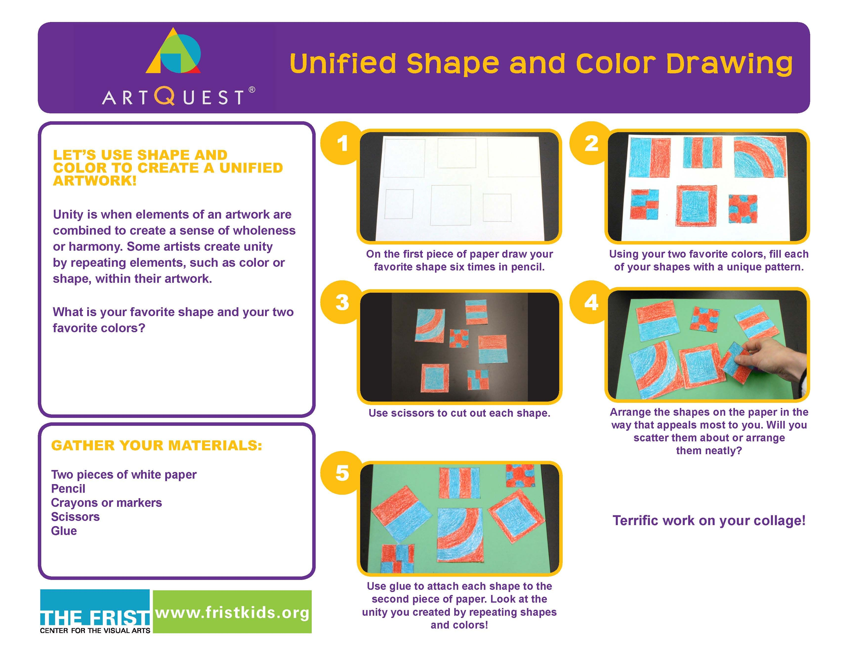 At Home Activity Unified Shape And Color Drawing