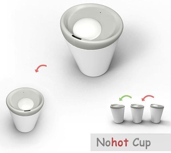 Nohot Cup. Una taza que advertirá a los usuarios sobre la alta temperatura de su contenido, tocándoles la nariz! De los diseñadores Yang Dongyun, Wu Yichen, Sang Xinxin, Gu Zhiyu y Lin Xia
