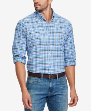Men'S Big & Tall Classic-Fit Plaid Oxford Shirt, Multi Blue/Lavender    Oxford shirts, Polo ralph lauren and Oxfords
