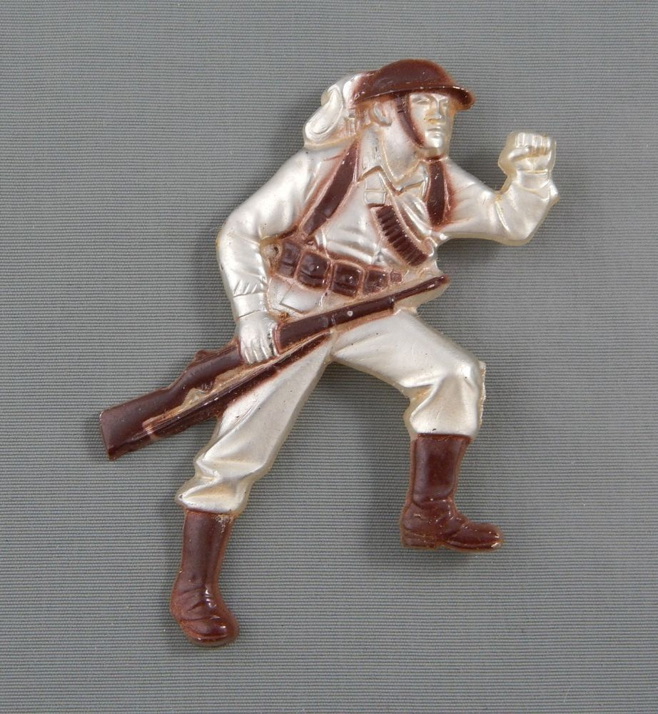 Vintage WWII Era Enamel Molded Celluloid Plastic Soldier Brooch Pin