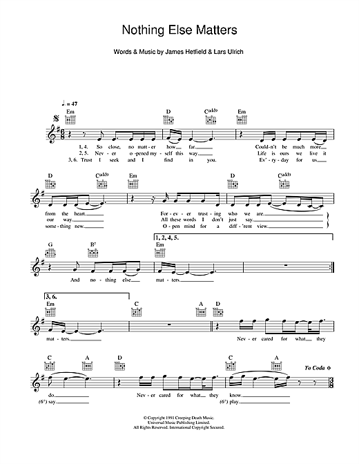 Metallica Nothing Else Matters Sheet Music Piano Notes Chords